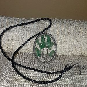Tree of life Jade chip pendant necklace